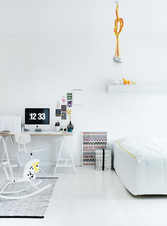 White interior with pops of modern accents