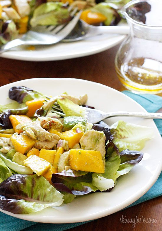 Sweet champagne mangos pair superb with creamy haas avocados and grilled chicken for a sweet-savory salad to delight your taste buds. This meal is ready in minutes, perfect for a hot summer day or night!  California Grilled Chicken Avocado and Mango Salad