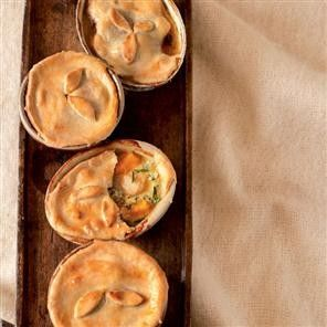 Chicken, sweet potato and blue cheese pot pies from Delicious Magazine (UK), January 2011