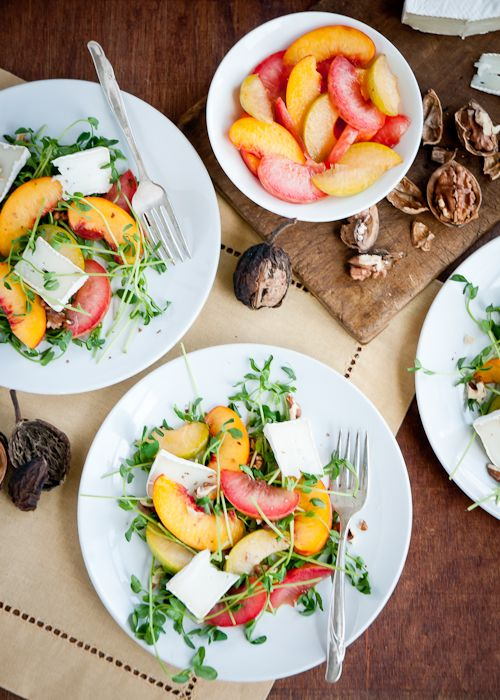 pea shoot and stone fruit salad with brie & walnuts