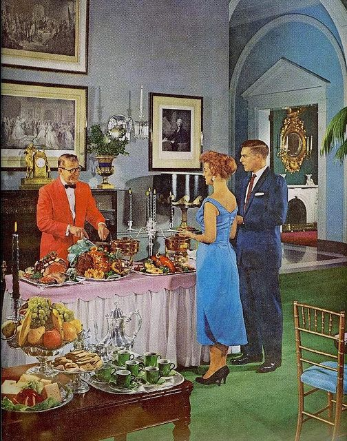 Oh, this spread? Just a little something we threw together on the fly, nothing much. #1950s #fifties #vintage #food #cooking #luxury