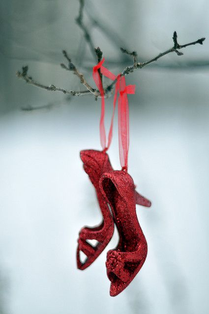 red glittery holiday shoe ornament..buy old shoes at thrift shop, glitter up...hang in the trees with a bottle of champagne....