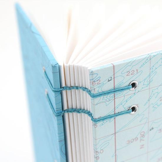 nautical chart handmade journal