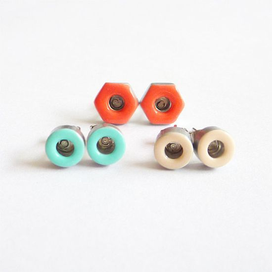 Earrings made from salvaged industrial spacers and hex nuts hand-painted in mint, coral and cream.