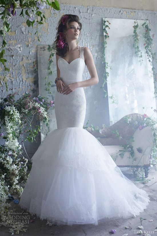 tara keely bridal spring 2013 lace fit flare wedding dress sleeveless elongated keyhole sash tiered tulle