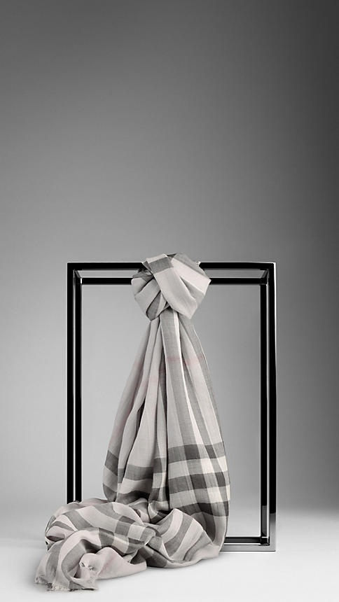 GIANT CHECK WOOL SILK SCARF