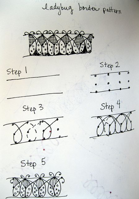 ladybird border tangle instructions #zentangle