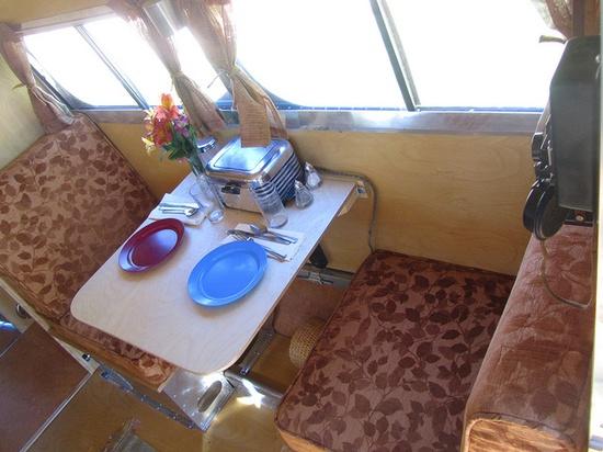 Interior of the Bowlus 1935 travel trailer