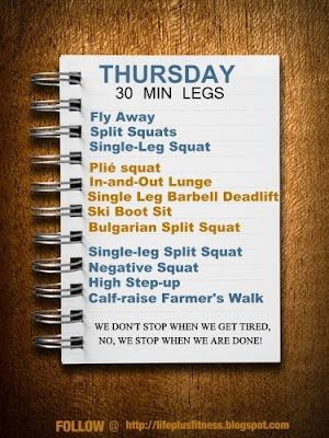 30 minute Leg Workout part of a 8 week plan