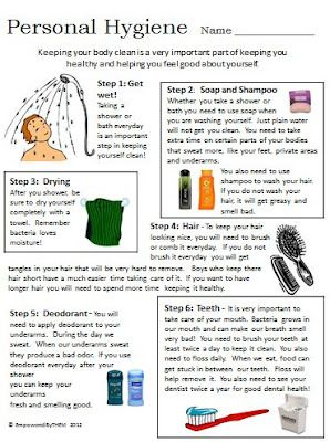 Life Skills - Personal Hygiene, comes with additional worksheet
