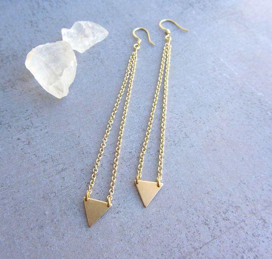 Minimalist gold triangle long earrings, geometric jewelry, simple modern jewelry