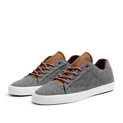 brown leather and grey wool