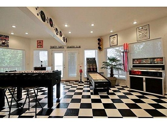 50's style game room for the retro man! #50s #retro #gameroom #kitchen designs #kitchen decorating before and after #kitchen interior design