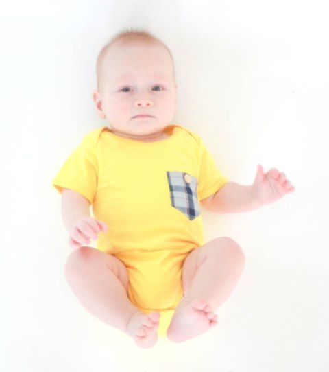 Add a splash of colour to your baby boys outfit with this funky & fresh pocket onesie by Alex & Ant!  Yellow baby boys onesie features contrast pocket.  Little Boo-Teek - Alex and Ant Online