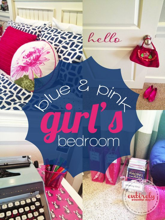 I am in love with this pink and navy blue bedroom for a girl!