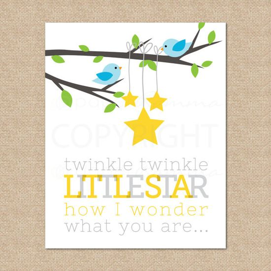 Twinkle Twinkle Art Print,  Archival Giclee Print for Nursery / Childs Room, 8x10. $20.00, via Etsy.