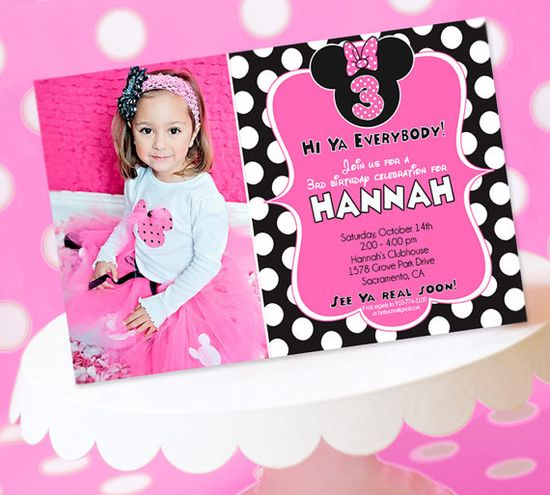 love these with the pic! Minnie Mouse Party  Invitation  Minnie Mouse by AmandasPartiesToGo, $14.00
