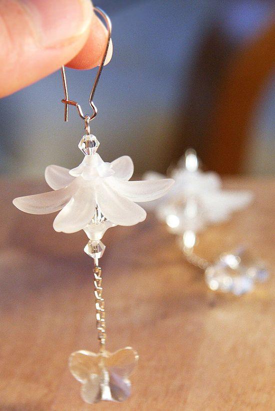 Frosted Flower Earrings Snow White Bridal Earrings by KapKaDesign, $41.00