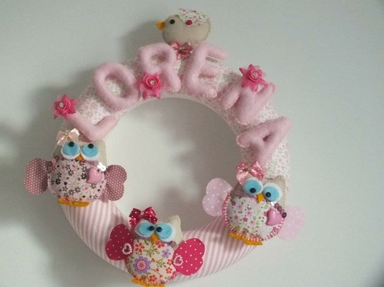 Beautiful baby girl name wreath created by Ana for the Hobbycraft make of the month competition. #babygift #babyname #newbaby #babyshower #handmade #craft