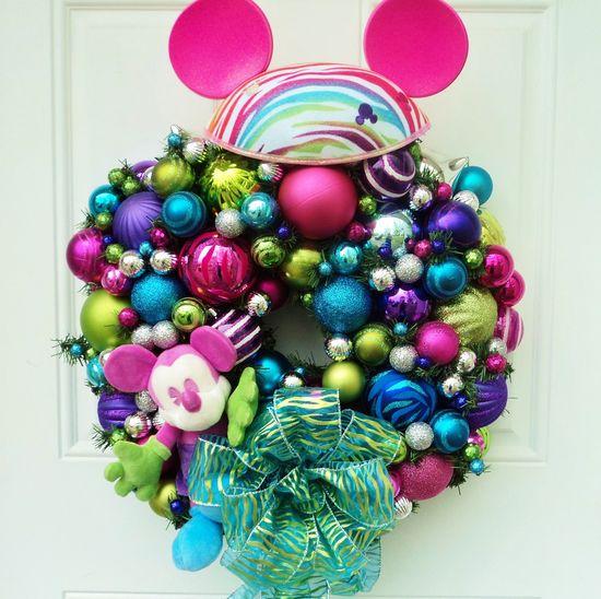 Retro Disney Wreath Neon Colors. $160.00, via Etsy.