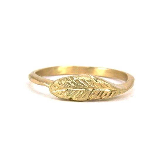 14K Yellow Gold Feather Ring by Nangijala Jewelry