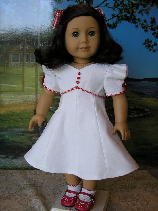 American Girl linen princess seamed vintage style dress, with hairbow