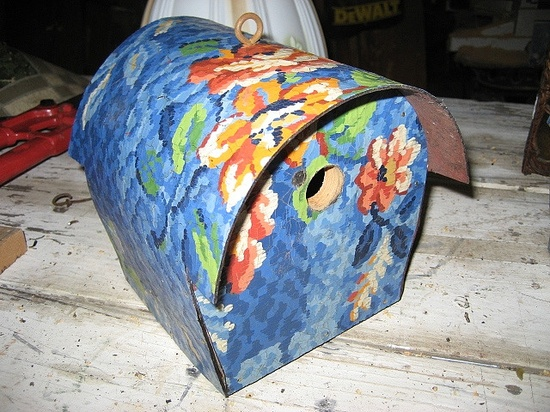 Linoleum birdhouse