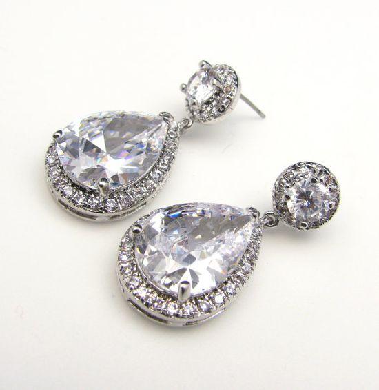 Free shipping bridal wedding earrings Clear white by DesignByKara, $49.00