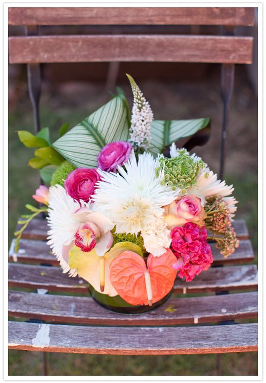tropical bridal shower flower arrangement
