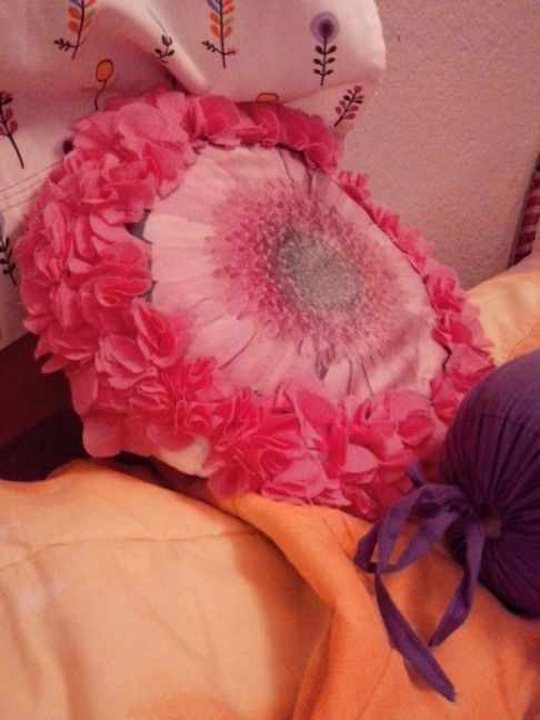 Cushion handmade flower.