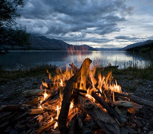 campfire by the lake...