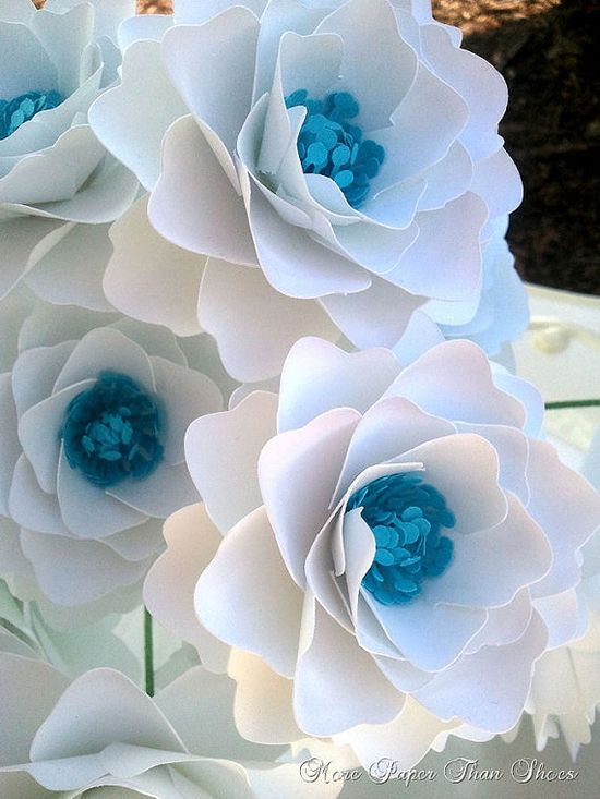 Handmade Paper Flowers  Stemmed  Wide by morepaperthanshoes