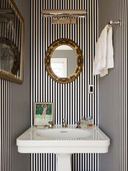 black + white pin-stripe powder room