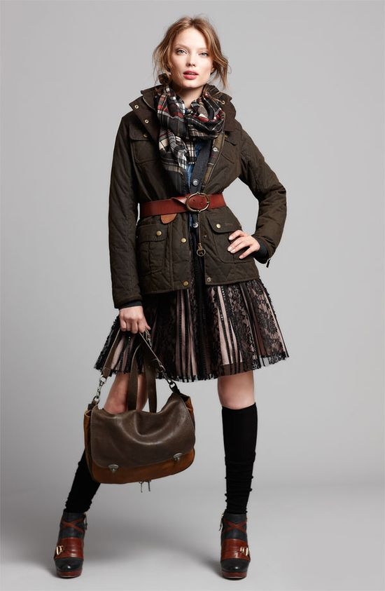 Barbour Jacket & JS Collections Dress #Nordstrom
