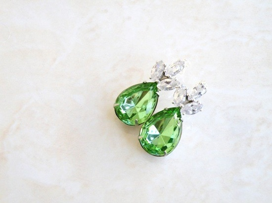 Bridal Earrings Peridot Green Foiled Pear Stone Rhinestone CZ Silver Stud Estate Style Wedding Jewelry. $27.00, via Etsy.