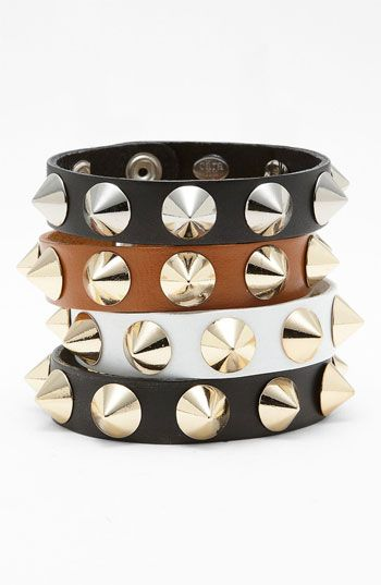 Cara Accessories Studded Leather Bracelet available at #Nordstrom