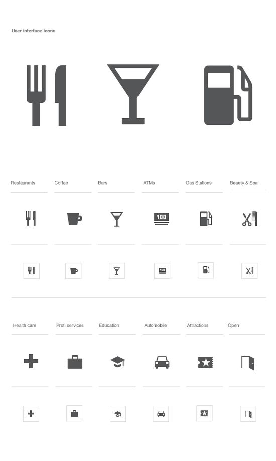Google Local and Mobile Maps iconography by Roger Oddone, via Behance