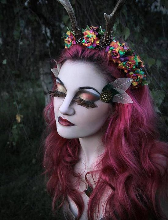 Rainbow cosplay maenad satyr faun rose antlers by HysteriaMachine, £45.00