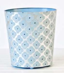 Silver and Blue Morocco Wastebasket $135.00 (USD) from www.wellappointed...