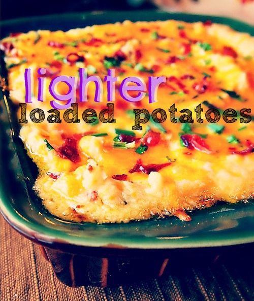 85 Calorie Lighter Loaded Potatoes! #fall #football #thanksgiving #healthy #dinner