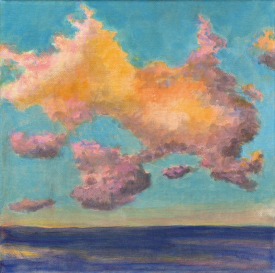 Original Landscape Painting - Golden Clouds Sea and Sky Calm Serene Ocean 8x8 Stretched Canvas. $75.00, via Etsy.