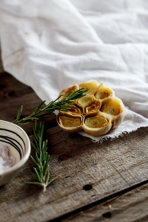 Roasted garlic, rosemary.