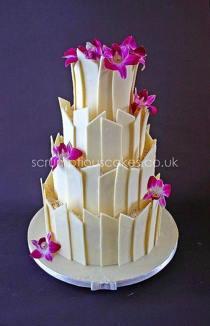 White Chocolate Shards & Fresh Orchids Wedding Cake