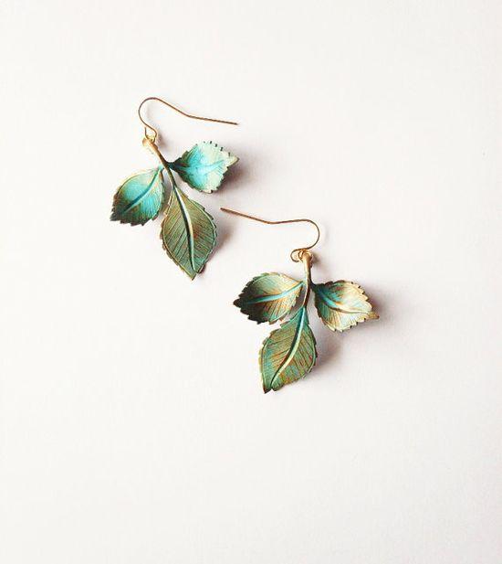 Green Leaf Earrings - Verdigris Leaves - Boho - Bohemian - Rustic - Cute Adorable Elegant Romantic Whimsical - Dreamy - Woodland Collection on Wanelo