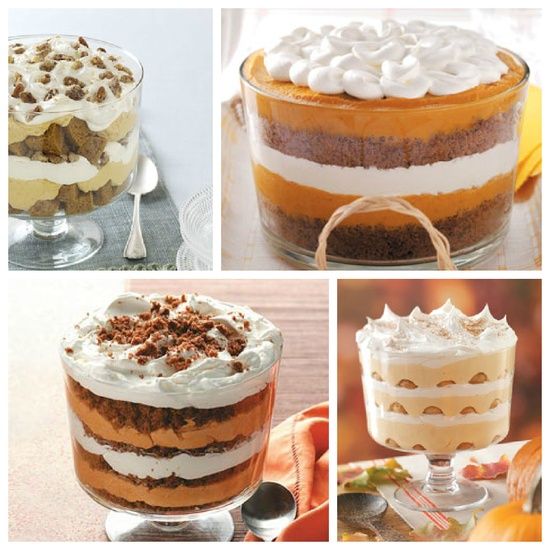 Pumpkin Trifle Recipes from Taste of Home - including Pumpkin Mousse Trifle, Pumpkin Gingerbread Trifle, Pumpkin Tiramisu, and Pumpkin Trifle Recipes.