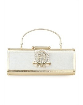 White & Gold Stainless Rhinestones Evening Clutch~