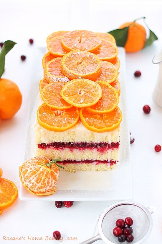 Citrus cranberry layer cake - a light and refreshing citrus cake sandwiched with tart cranberry sauce for an explosion of flavors and textures. Recipe from Roxanashomebaking...