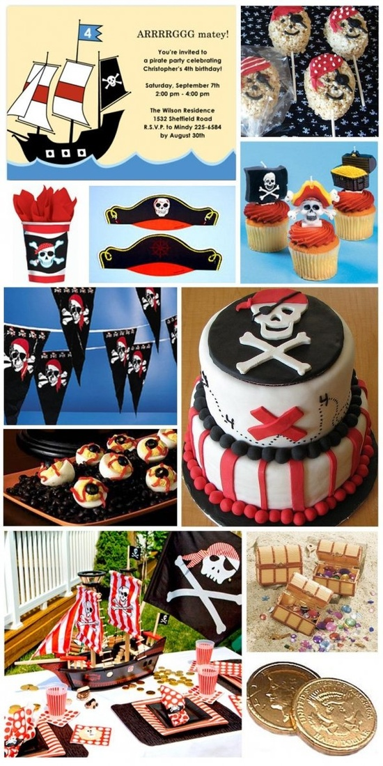 Pirate Baby Shower Inspiration - Just replace the birthday invitation with a baby shower one!