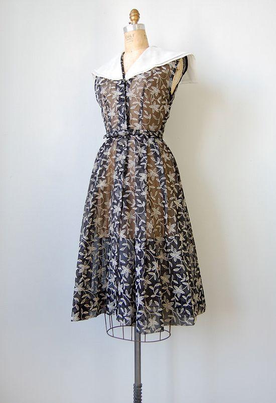 vintage 1930s sheer floral dress #vintage