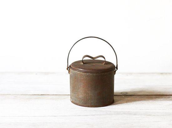 Vintage rustic lunch pail, Vintage kitchen canister, Kitchen decor
